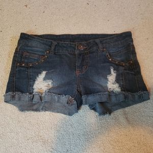 Distressed Jean Shorts with Studs